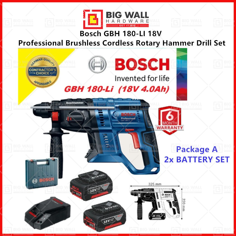 Bosch GBH 180-LI 18V Professional Brushless Cordless Rotary Hammer Drill Set (ORIGINAL) 6 packages