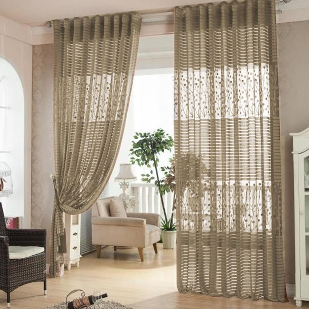 Hollowed Leaf Tulle Living Room Drape Valances Door Window Curtain Divider Brown