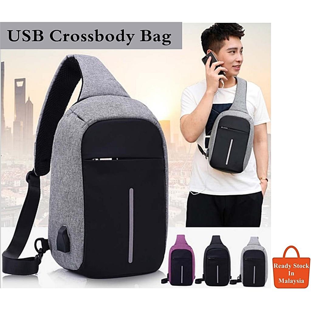 1cfd056350db Anti Theft USB Bag Crossbody Chest Man Women Sling Bag