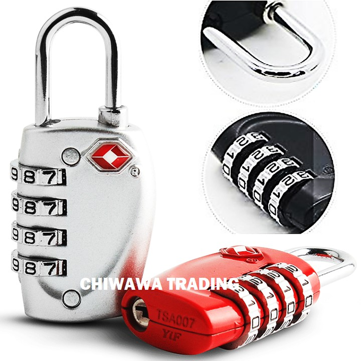 TSA Approved Security Customs 4 Digit Combination Password Code Luggage Padlock Travel Bag Suitcase Cable Lock