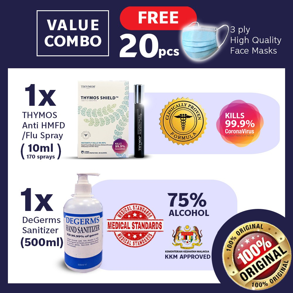 【Clinical Proven Sanitiser FREE 20 Face Cover】1x 10mL Thymos + 1x Degerms 500mL