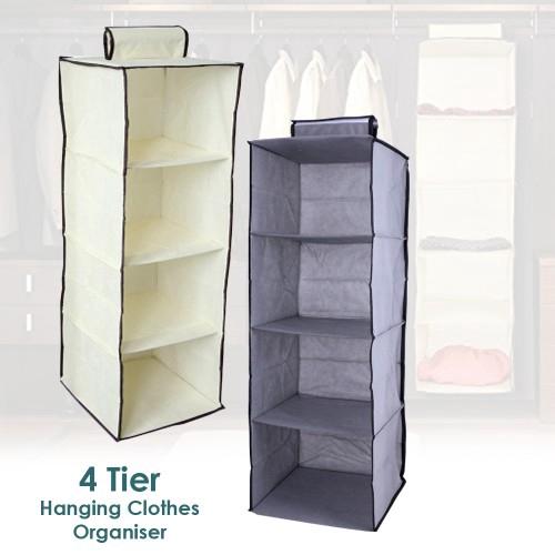 4 Tier Vertical Hanging Wardrobe Organizer Clothes Storage Box ...