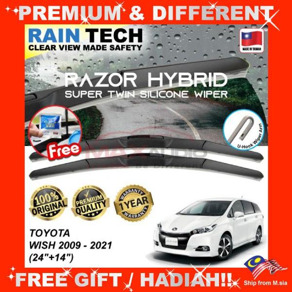 [FREE Gift] TOYOTA WISH 2009 - 2021 (24/14) RAIN-TECH RAZOR HYBRID Silicone Aerodynamic Clean Wipe Safety Wiper Blade