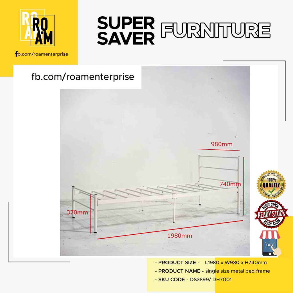MINA solid wood single size bed frame in White and Cappucino color single katil kayu ready stock solidwood