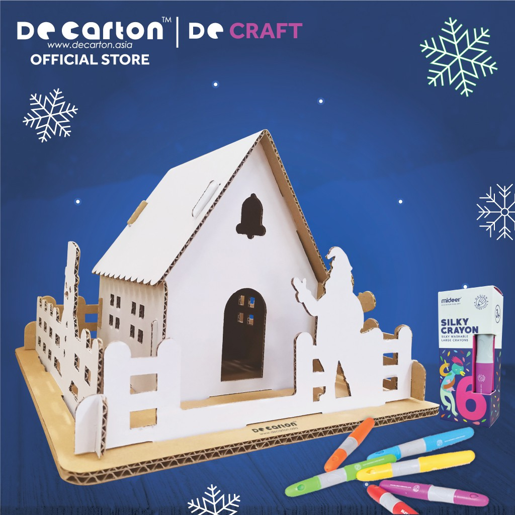 [De Craft] De Carton Cardboard Little Christmas House Craft Kits