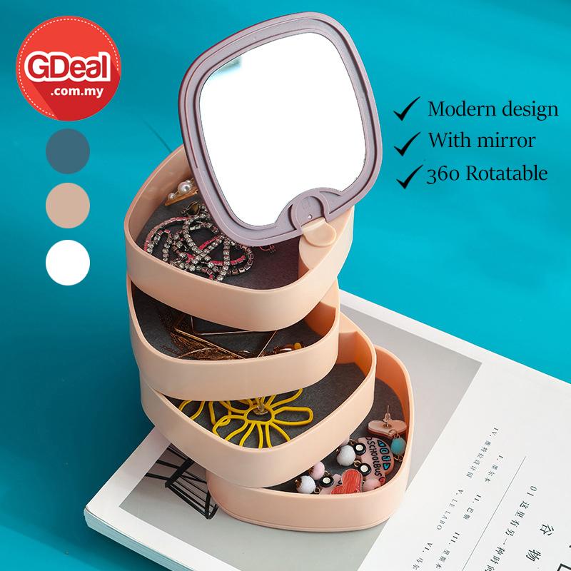 GDeal Rotating Earring Jewelry Storage Box Holder Necklace Organizer Kotak Barang Kemas