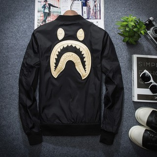 99c965ac57ec ... NEW Men BAPE Embroidery Shark Head Coat A Bathing Ape Flight Bomber  Jacket. like  3