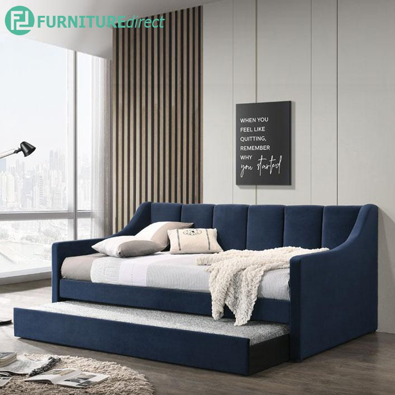Furniture Direct ROISE single size fabric daybed with trundle/ pull out bed/ katil single/ katil pull out