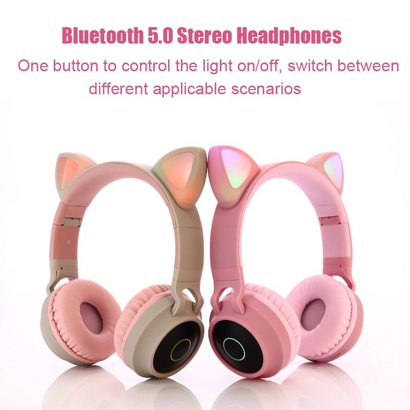 Cute Cat Ear Pink Wireless Headset Bluetooth 5 0 Girl Female 3 Colors Flashing Stereo Headphones Shopee Malaysia