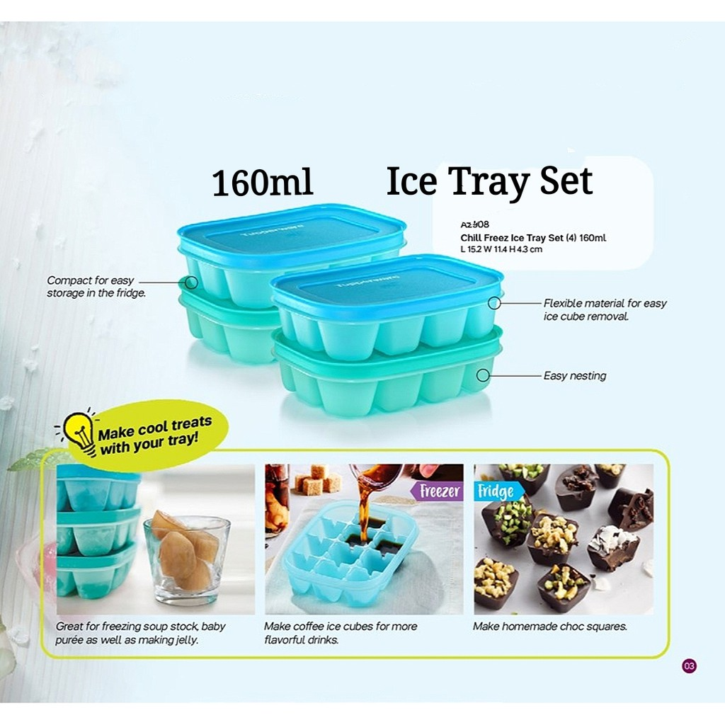 Tupperware Chill Freez Ice Tray Set 160ml - Blur or Green Color Set-READY STOCK
