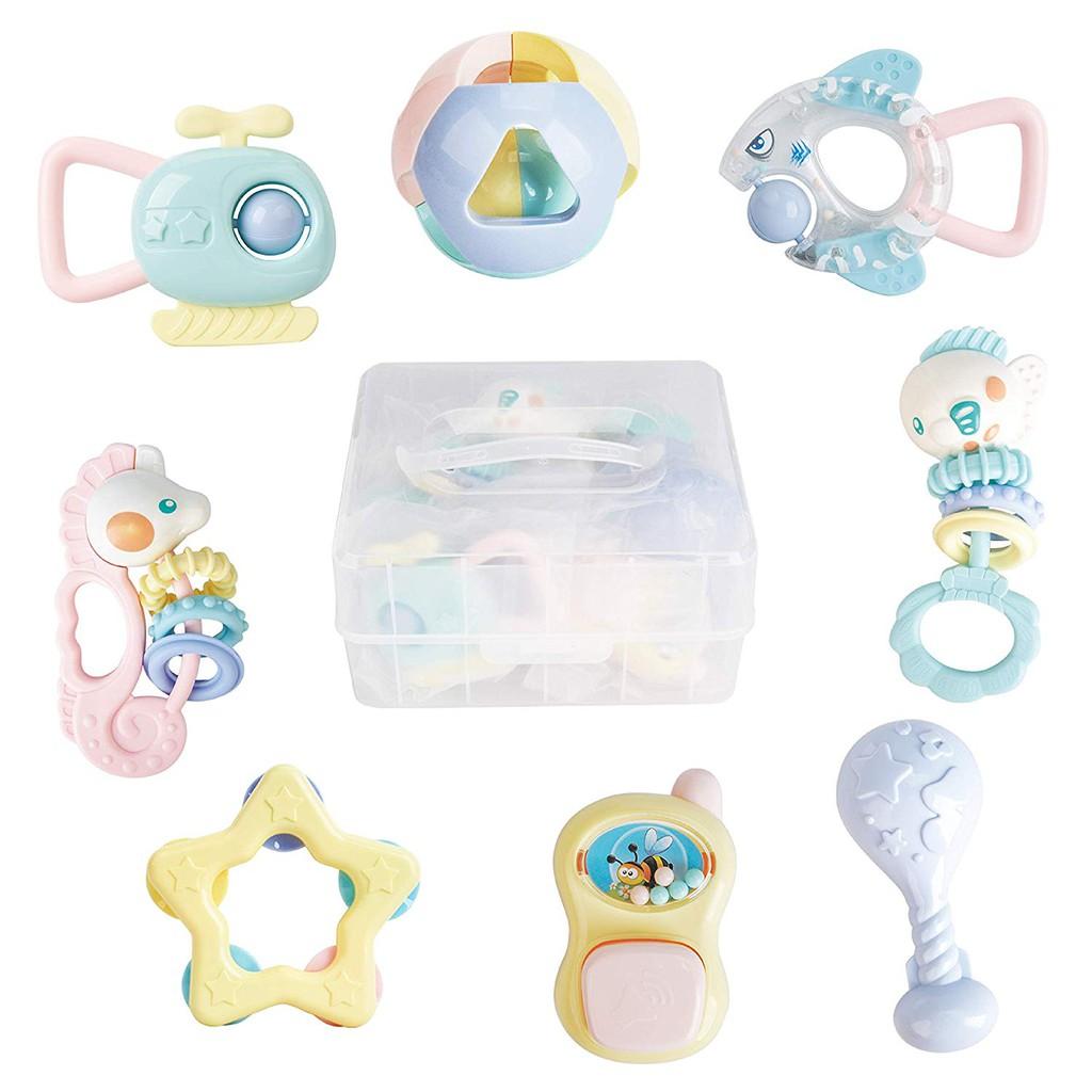 Blue LANDUM Wood Teether Turtle Silicone Teether Teether Baby Nursing Toy Chew Toy Teething Rattles Toy