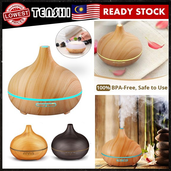 Aromatherapy Air Humidifier Anti Stress Room Mist Portable Purifier Wooden Onion Shape (400 ml)