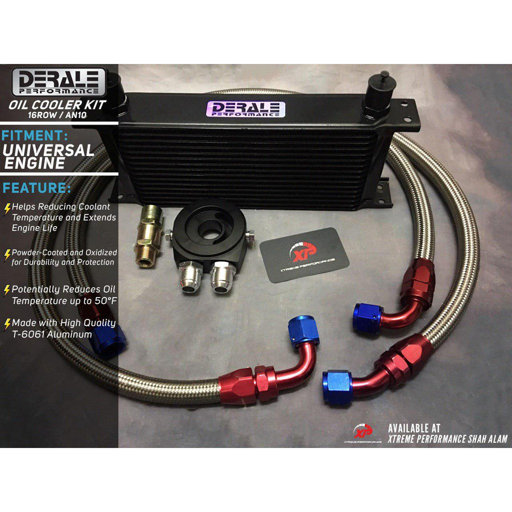 DERALE OIL COOLER KIT 16ROW SPEC WITH AN10 BRAIDED HOSE