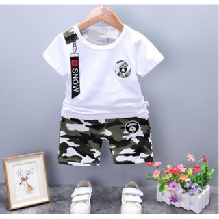 9ec72a1a9d027 INS 2pcs Summer Baby Short Sleeve Tops+Camo Shorts Kids Clothing ...