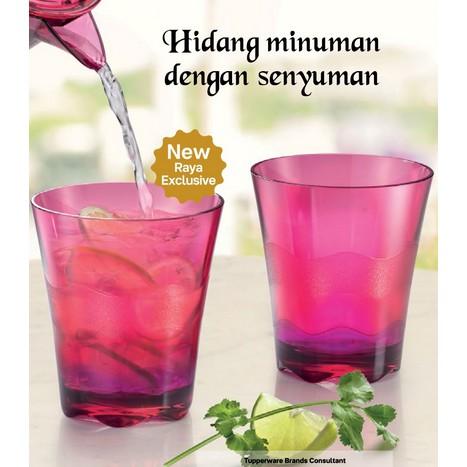 *2pcs*Tupperware Sheerly Elegant Tumbler Cup/Glass Tebal 290ml