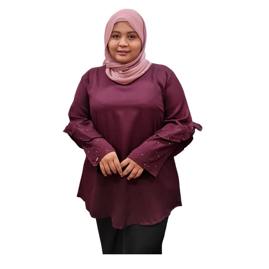 Fashion Blouse  PLUS SIZE / Lengan ala SALOMA / Muslimah Blouse / Lengan Panjang MANIK - CrystaL