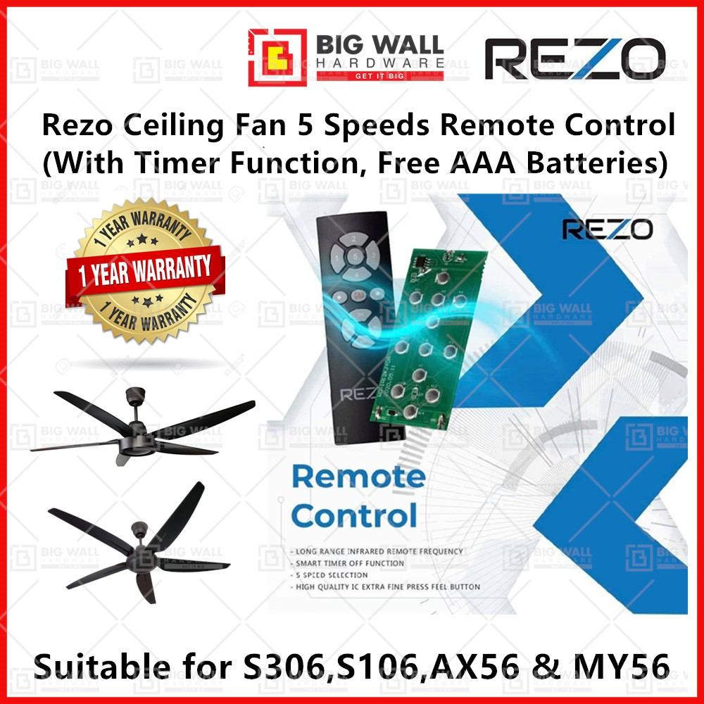 Original Rezo Ceiling Fan 5 Speeds Remote Control for S103 S306 AX56 MY56 With 5 Speed Timer Function *Free Batteries