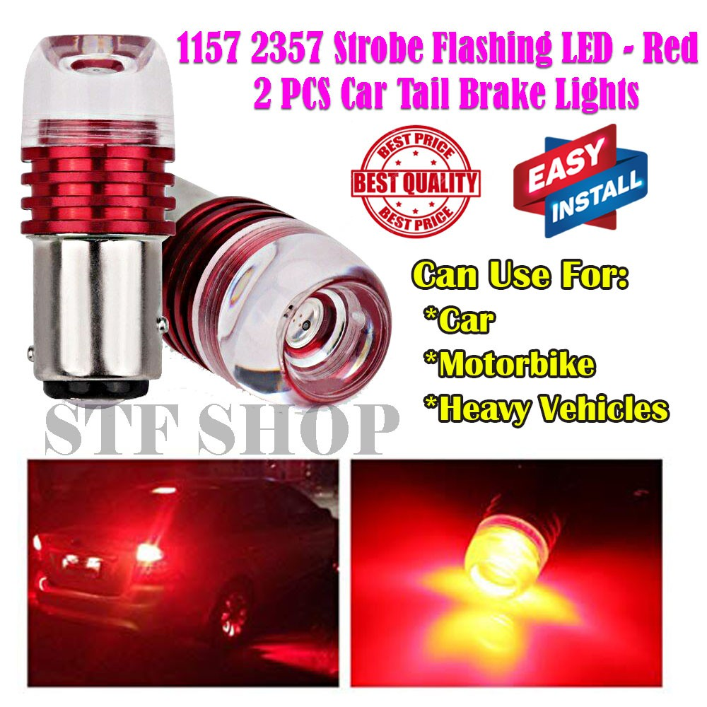 2Pcs Universal Strobe Flashing LED Projector Bulbs for Car Motor Tail  Backup Light Brake Lights