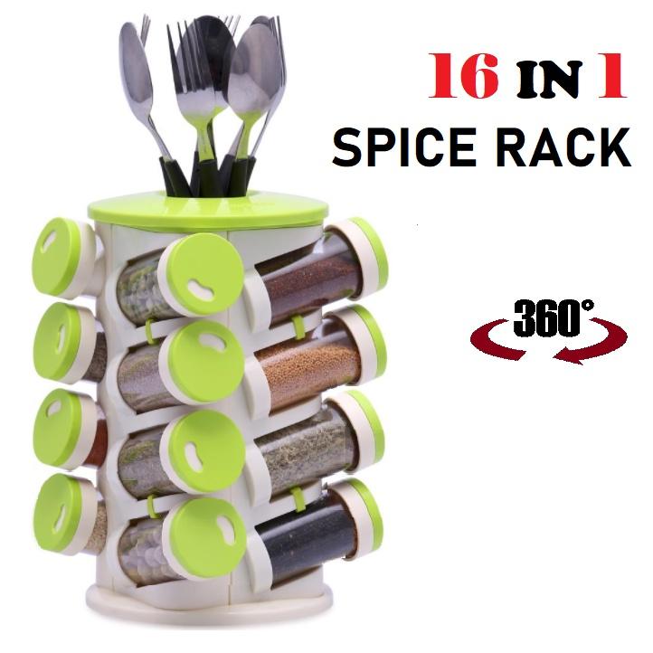 16 IN 1 TRUEWARE Rotating Spiral Spice Tower Rack Organiser Salt Storage Jar Condiment Canister + Cutlery Holder