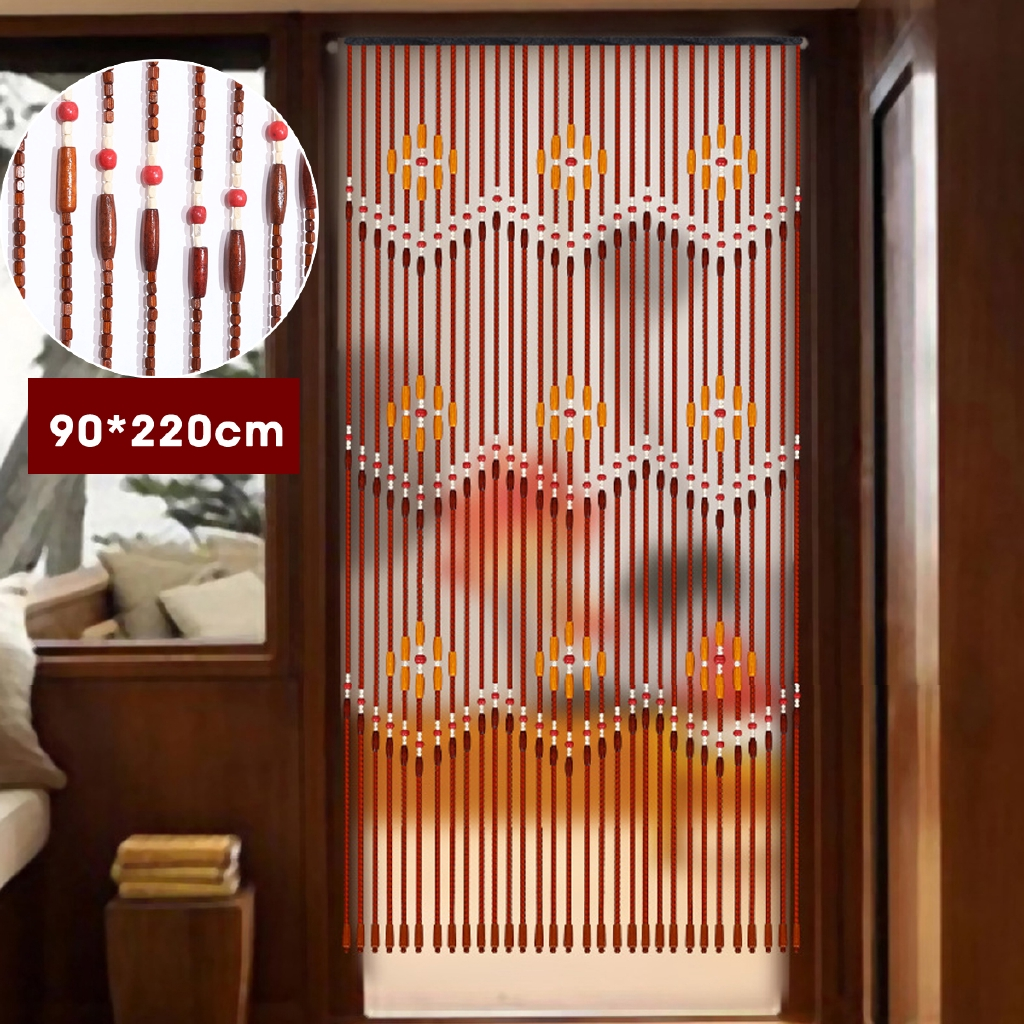 31 Line Wooden Beaded Curtain Tassel Curtains Door Beads Curtains String Curtain Wooden Beaded Door Curtain Screen Long Crystal Porch Partition Curtain Bedroom Living Room