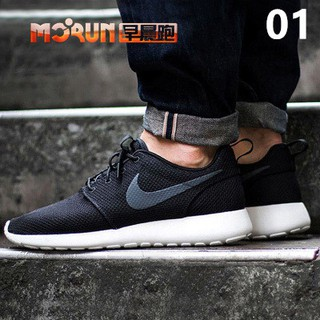 e66dd90d07aa  free shipping  original Nike Roshe Run One black white men s running shoes
