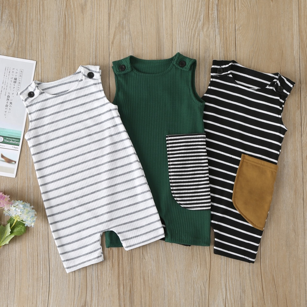 Soft Baby Girl Boy Long Sleeve Suit Clothes Outfits Baby Infant Boy Girl Striped Romper Cotton Jumpsuit 0-24M