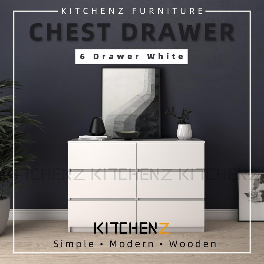 [Bigger Size] Kitchen Z 4FT Chest Drawer with 6 Largest Drawer Storage - HMZ-FN-CD-7003