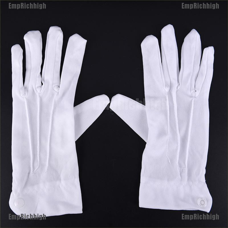 6 Pairs white gloves cotton soft thin coin jewelry silver inspection work glo LU