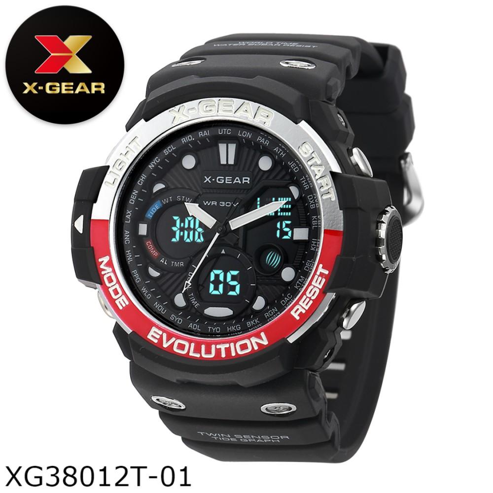 X-Gear Sport Dual Time Rubber Strap Autolight Watch