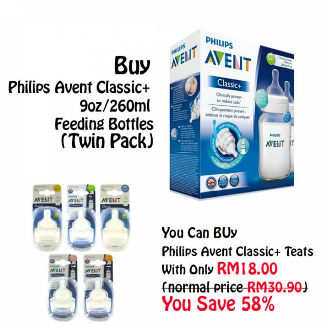 BUY PHILIPS AVENT CLASSIC 9OZ/260ML TWIN PACK + TEATS TWIN PACK ONLY RM18