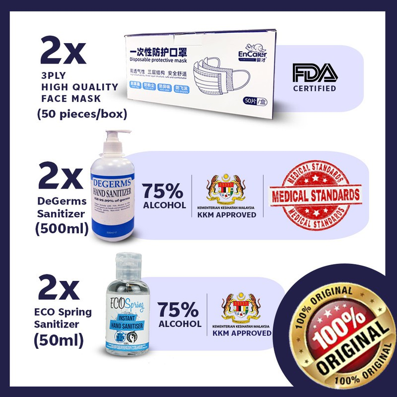Degerms Hand Sanitizer 500mL x2 & 100 pcs 3 lyr Face Cover & Ecospring 50mL x2