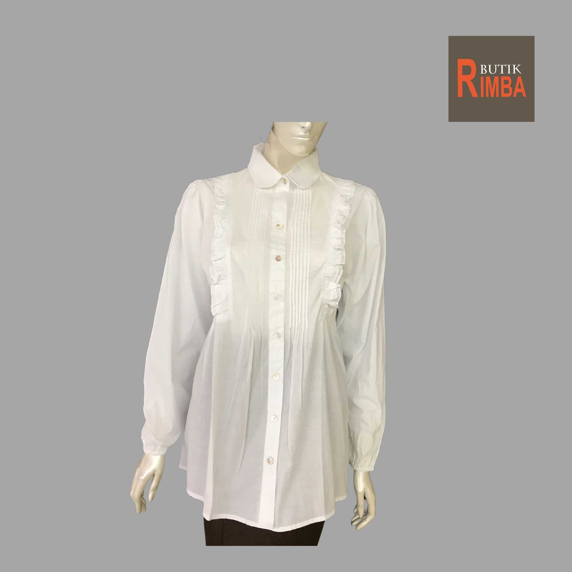WOMEN CASUAL AND COMFORTABLE WHITE BLOUSE COTTON FREE SIZE PATTERN 13