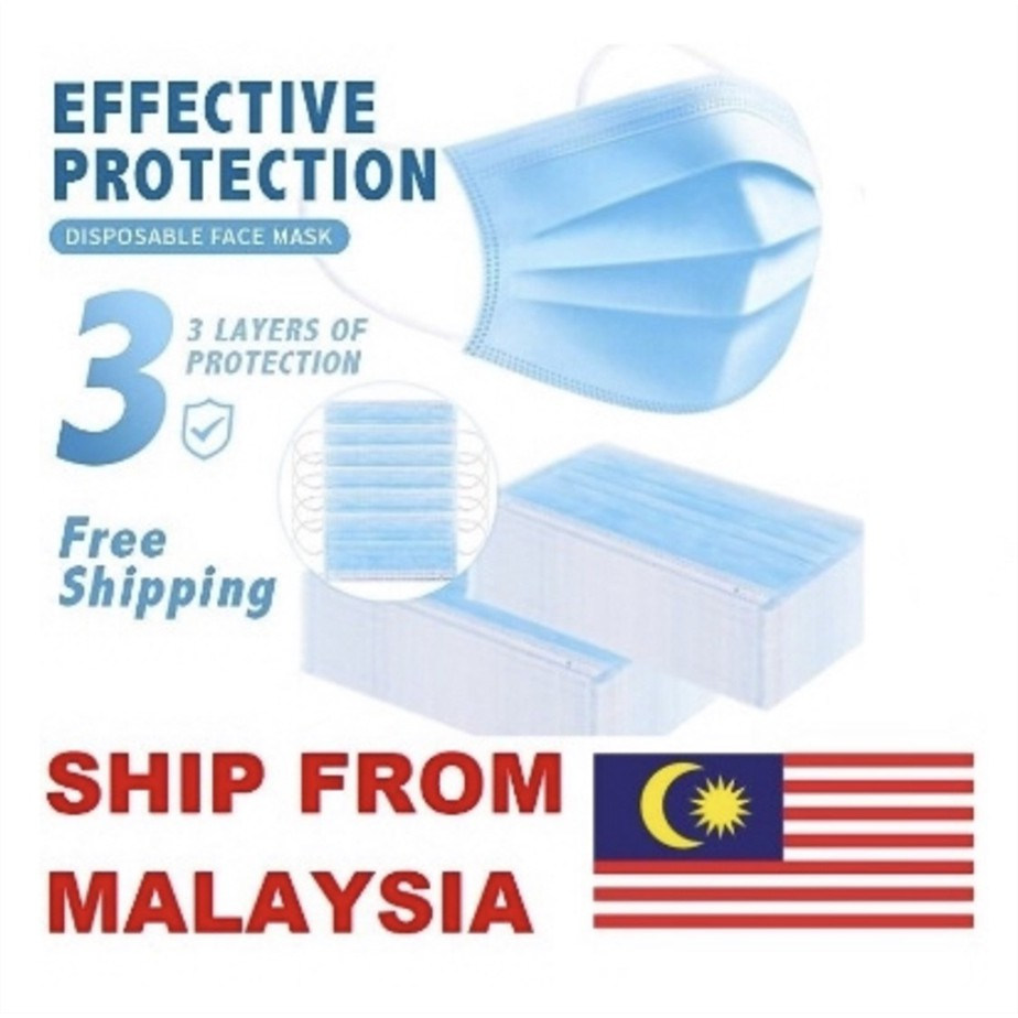 [Ready Stock at MALAYSIA] 50pcs 3ply Protection Face Mask with CE & FDA 三层防护口罩