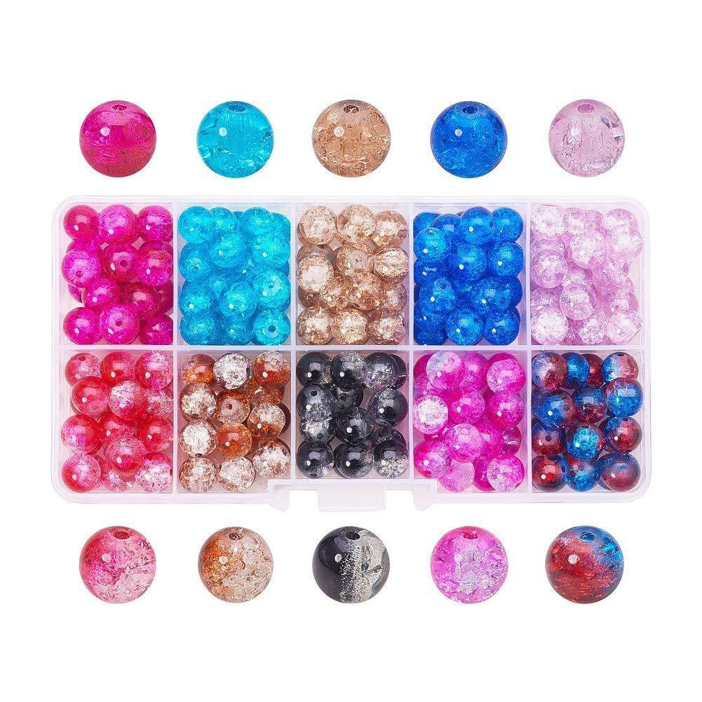 1Box Round Transparent Crackle Glass Beads Loose Spacer Beads DIY Craft 4~10mm