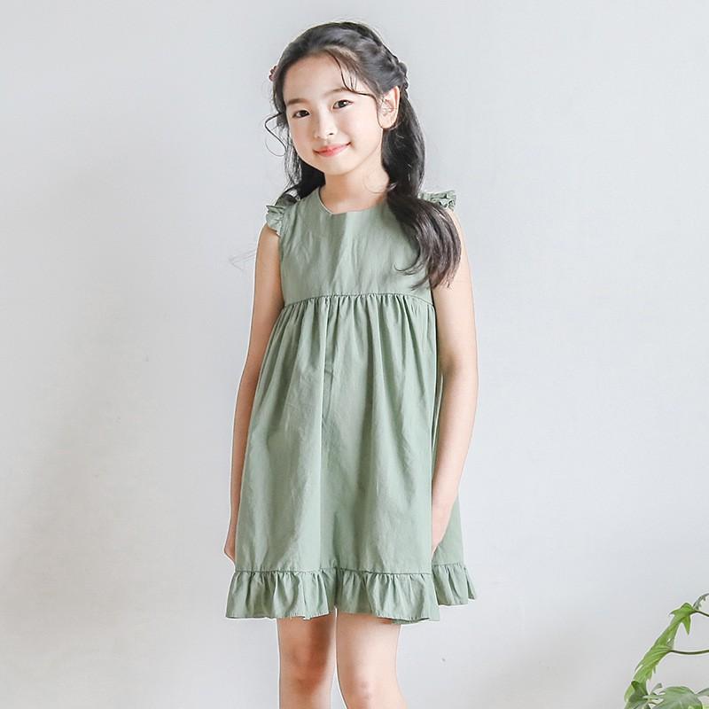 best prices ever popular cheap sale baby dress girl green ruffles teen summer sleeveless cotton big ...