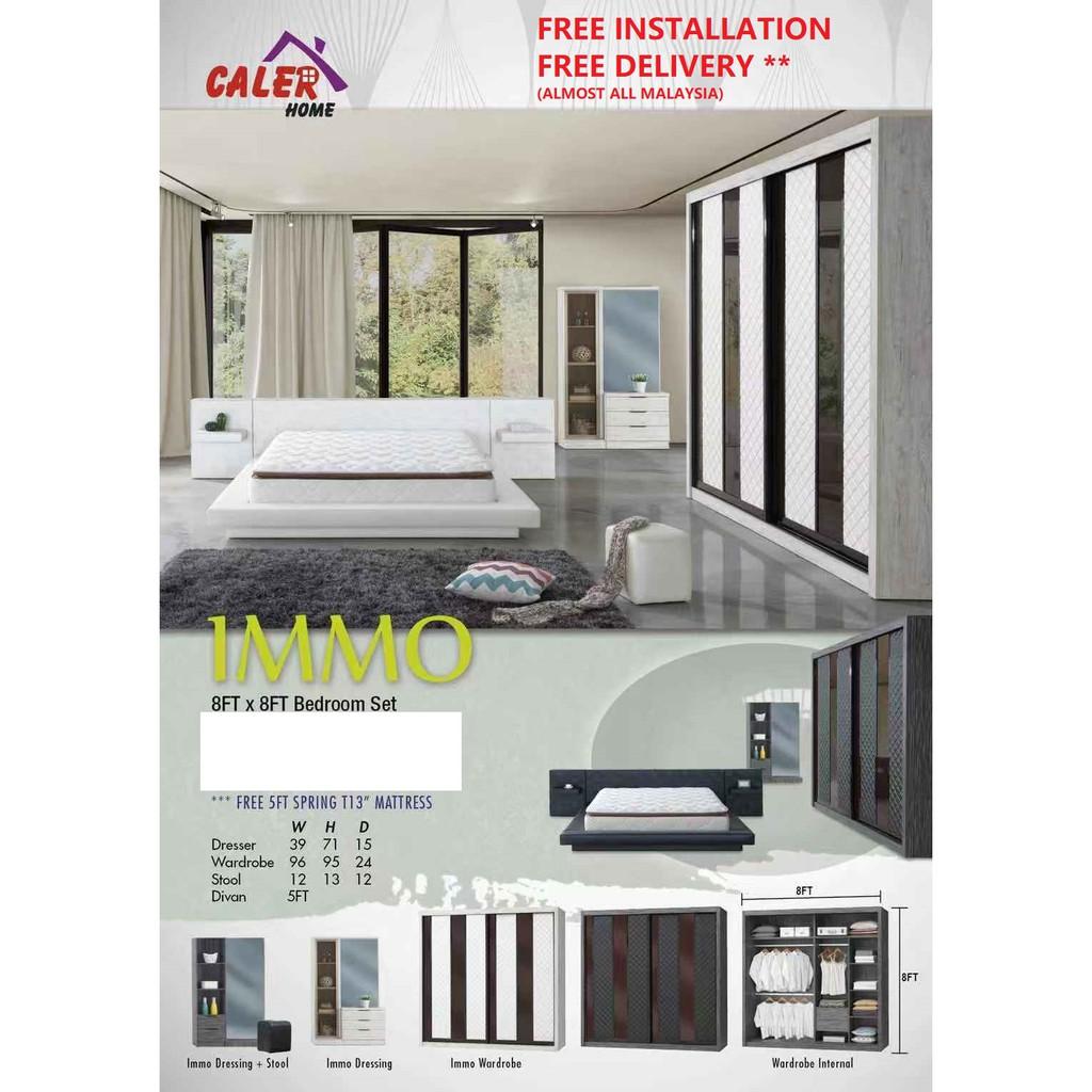 [WES] IMMO BEDROOM SET 8FT X 8FT WARDROBE + DRESSING + SIDE TABLE+  INCLUDING 5FT 13' MATTRESS