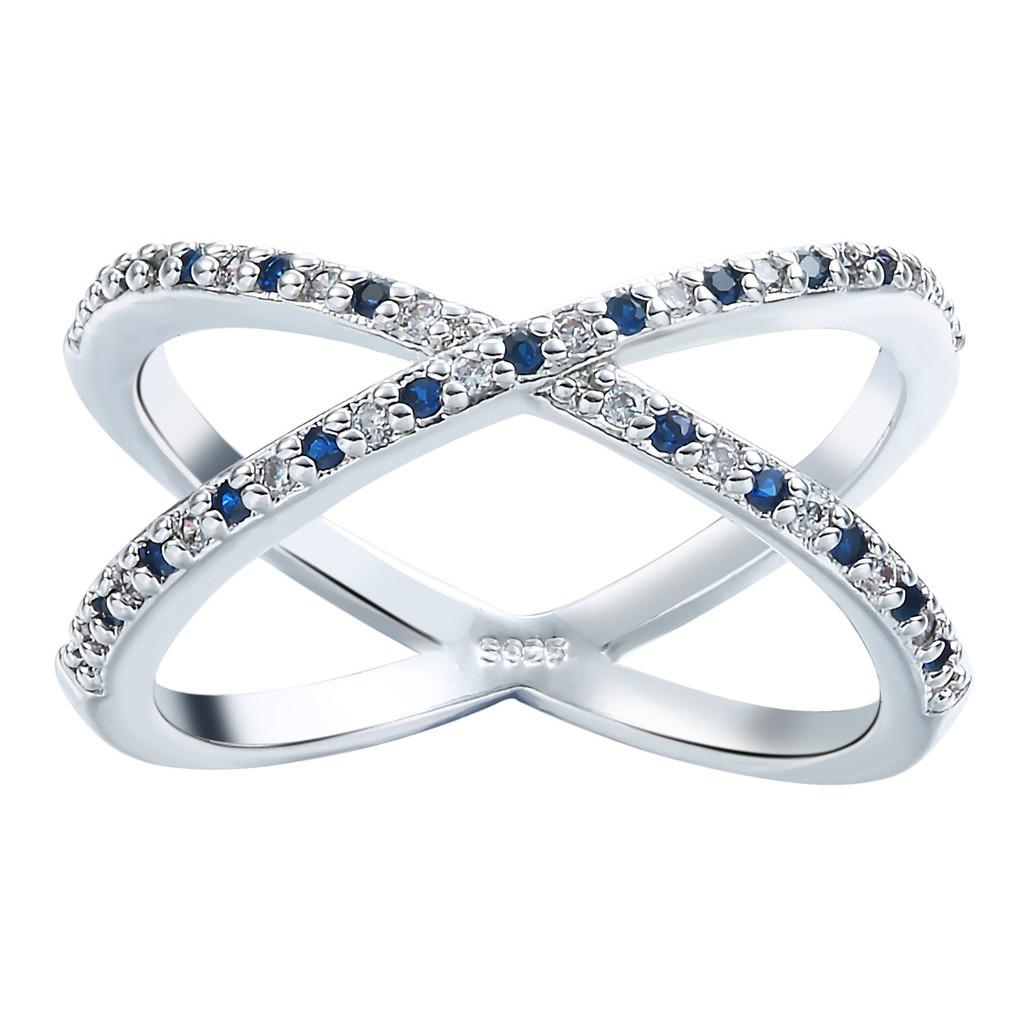 Xiang Ru Plated 925 Silver Double Circle Cross Cubic Zirconia Wedding Rings