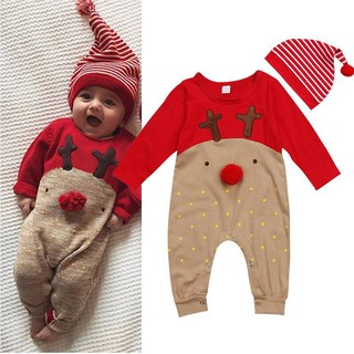 3cda76179 Xmas Infant Newborn Baby Christmas Romper Jumpsuit Kids Outfit Set\ With  Hat   Shopee Malaysia