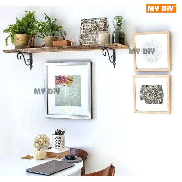 2pcs European Style Wall Shelf Bracket L Shape Commodity Shelf Black 15x12cm