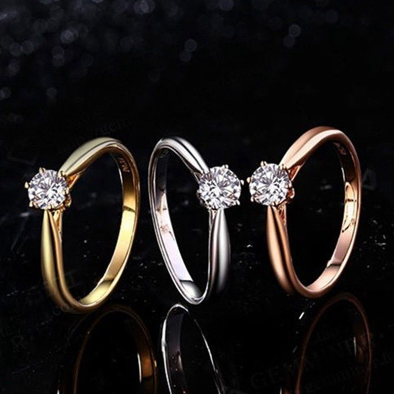3279e1594d 18K White\/Gold\/Rose Gold 925 Silver Women'S Gift Engagement Party Rings  Motehrs Day Gifts