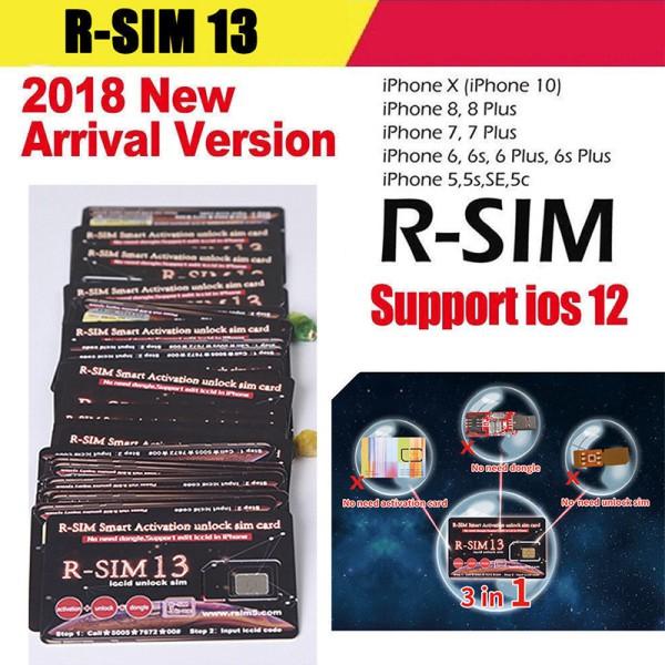 R-SIM 13 for iPhone XR/XS/X/8/8p/7/7p/6s/6sp 4G R-sim Nano Unlock Card IOS  12