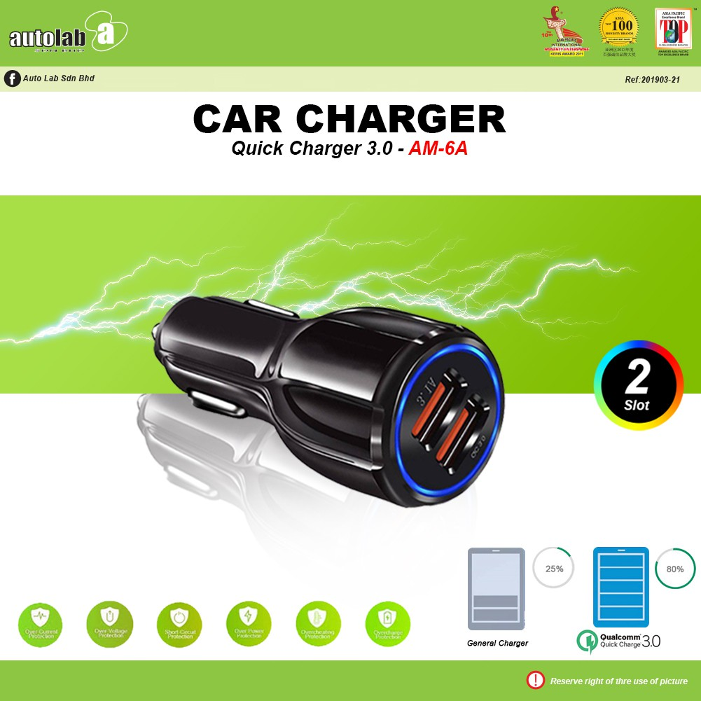 Car Charger Quick Charge 3.0 AM-6A