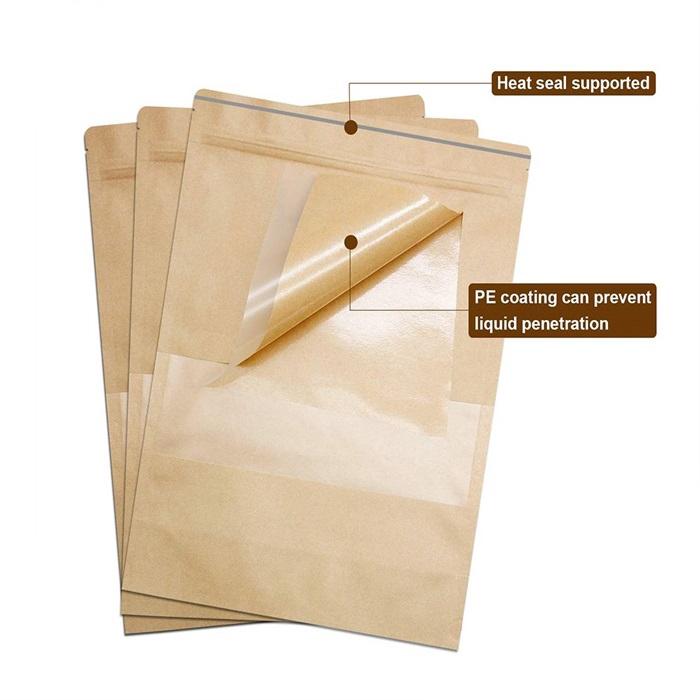 💥New💥Plastic Ziplock Kraft WINDOW Paper Food Packaging Bag Cookies Bakery Gift