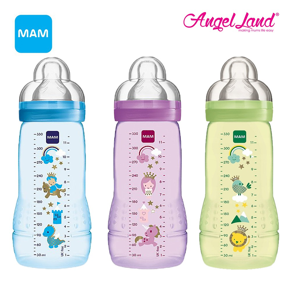 MAM 4 Plastic Bottle Color GREEN 330ml x2 design may vary m Easy Active