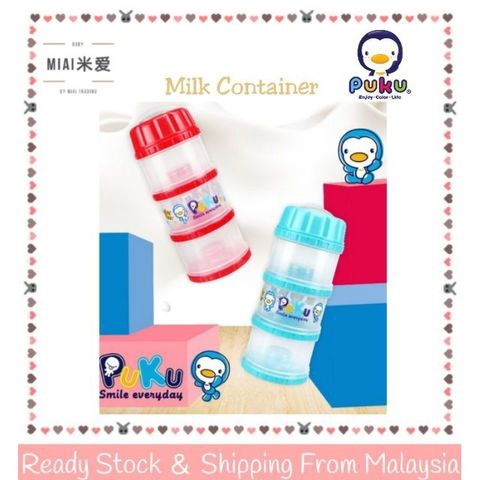 Ready Stock PUKU 3 Layers Independet Milk Powder Dispenser Formula P11012 獨立大三層PP奶粉盒