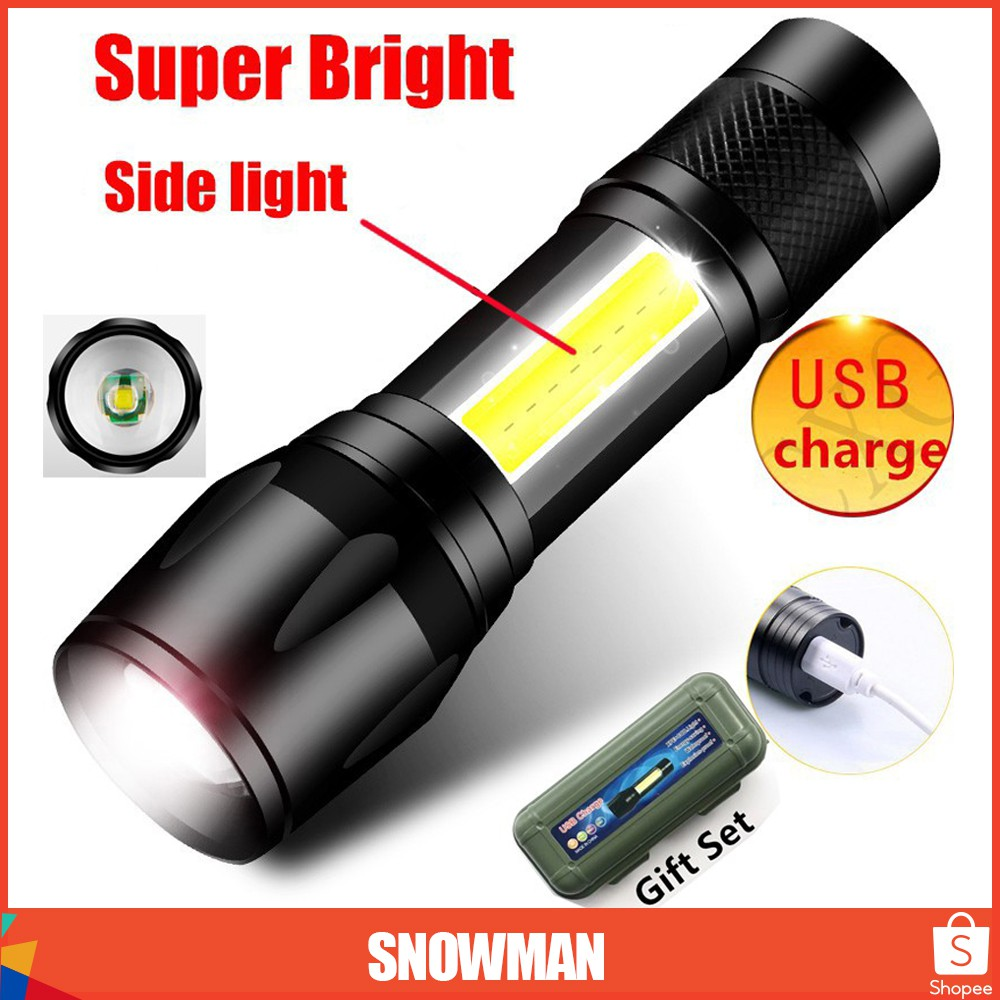 Metal USB Charging Rechargeable Torch LED Flashlight Zoomable light COB Lamp