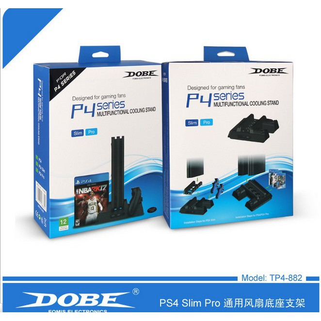Original PS4 DOBE Slim PRO Multi-functional Cooling Vertical Stand Charging  Dock