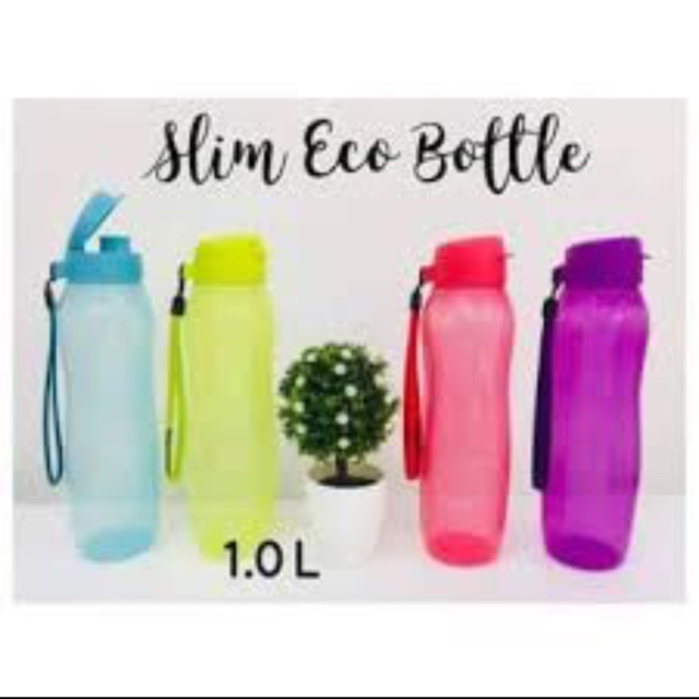 Tupperware Slim Eco Bottle with Strap 1L (only GREEN)