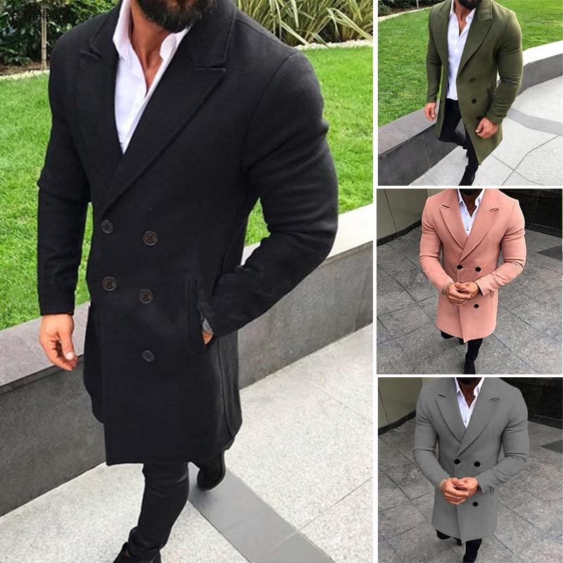 Male Tops Office Work Cardigan Business Suit Blazer Overcoat Party Solid Pockets Long sleeve Warm Male Buttons