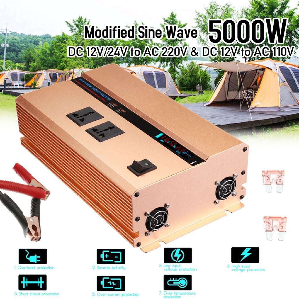 Top Sales5000W Power Inverter 12/24V To 240V LCD Sine Wave Converter With  Fuses
